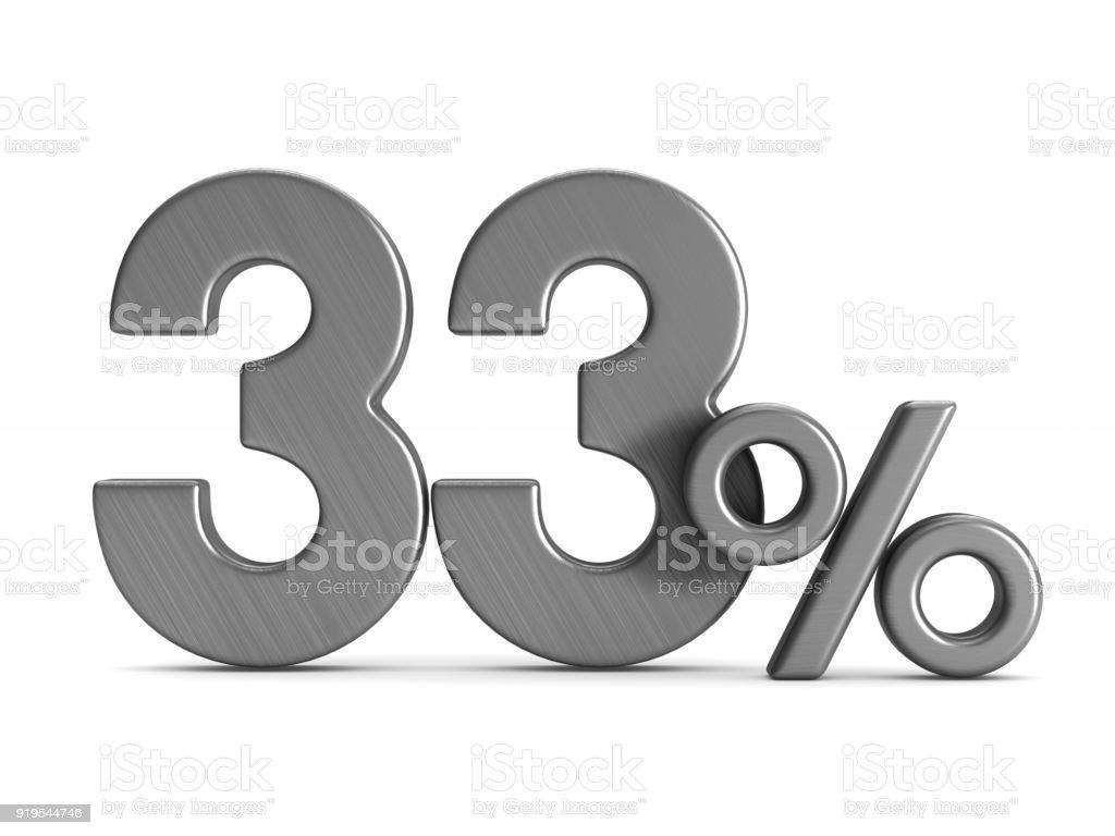 thirty three percent on white background. Isolated 3D illustration stock photo