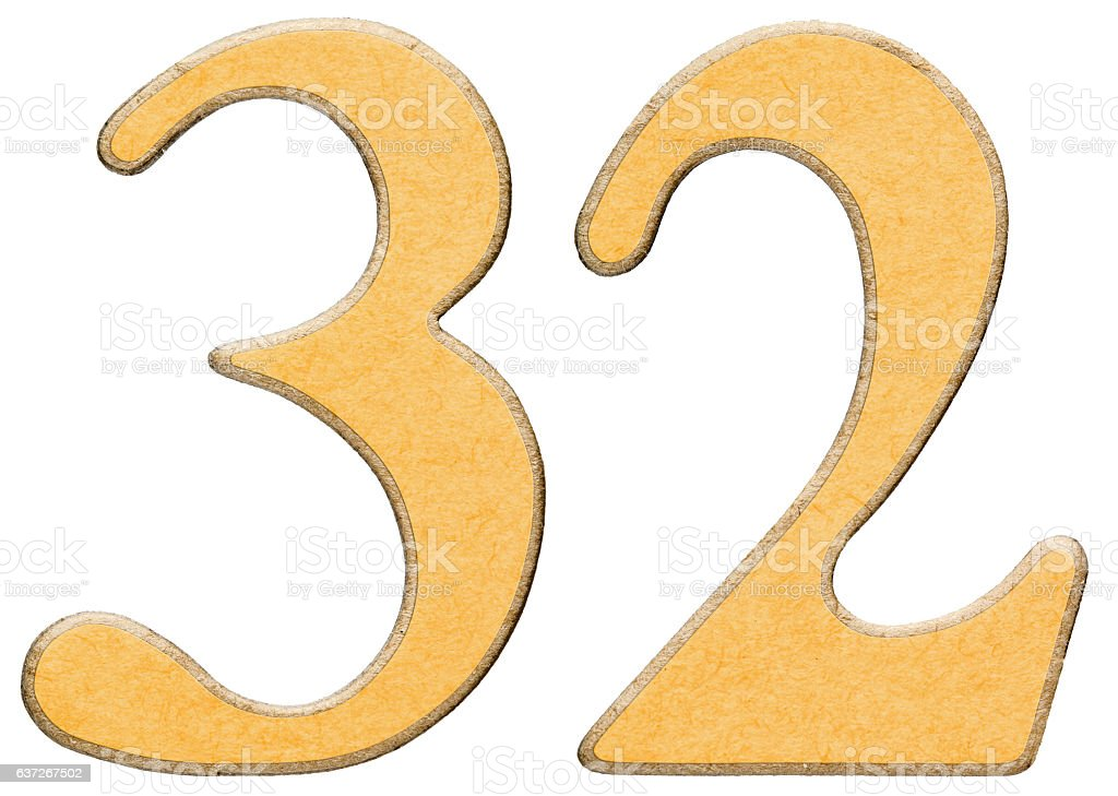 32, thirty two, numeral of wood combined with yellow insert, stock photo