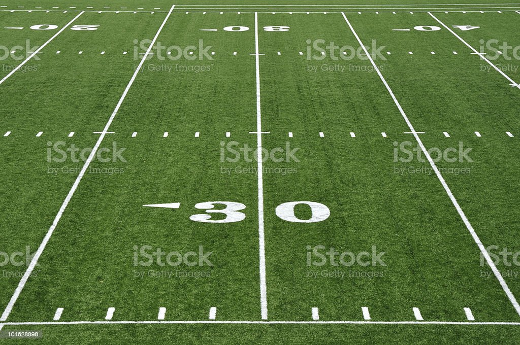 Thirty Yard Line on American Football Field royalty-free stock photo