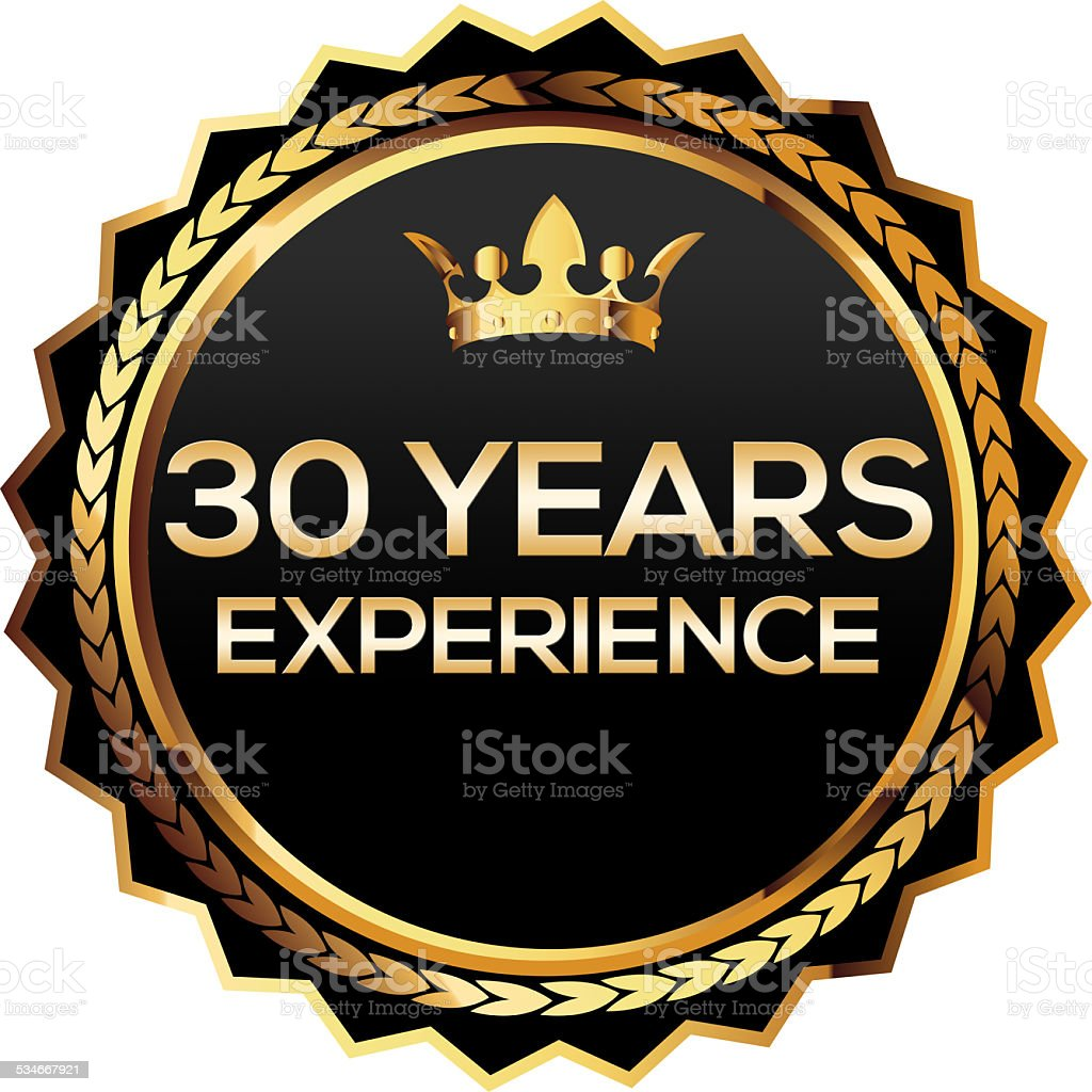 Thirty years experience gold badge stock photo