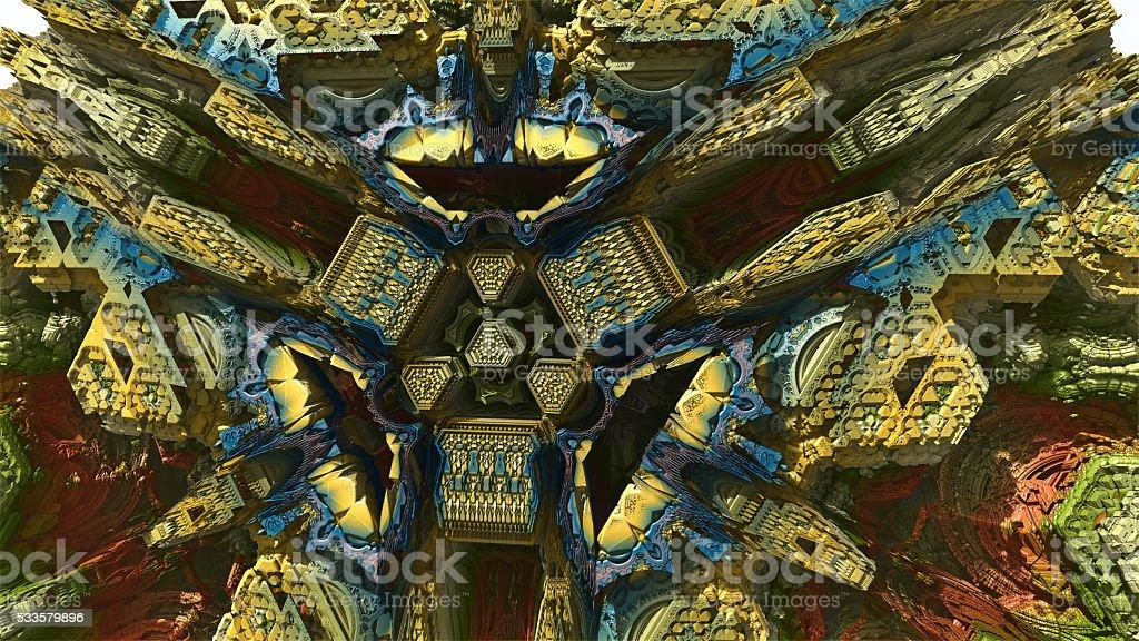 Peek inside a 3D fractal image stock photo