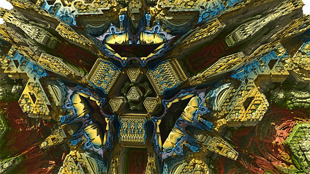 peek inside a 3d fractal image - whiteway fractal stock photos and pictures