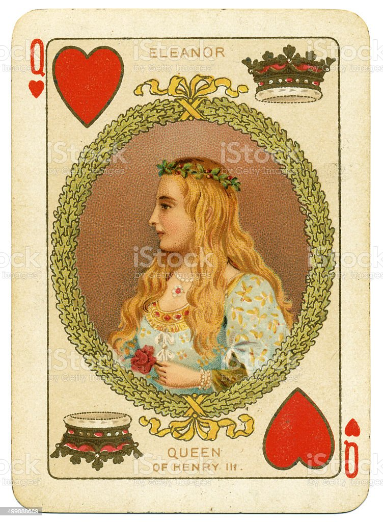 Queen Eleanor Queen of Hearts playing card stock photo