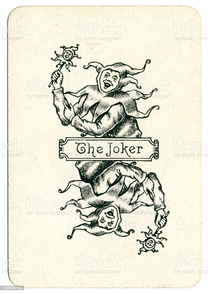 Joker playing card 19th century antique The Joker stock photo