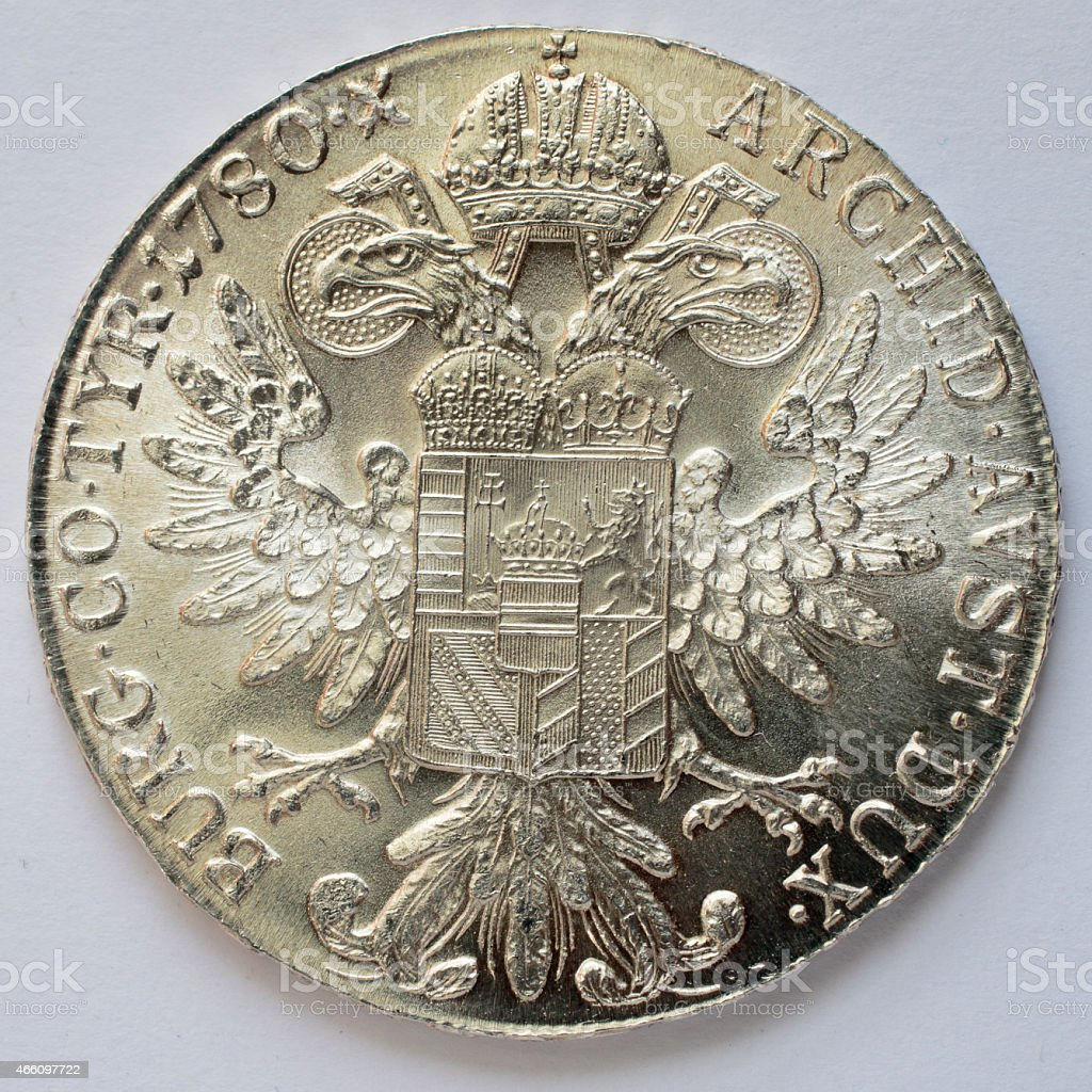 Maria Theresa thaler silver bullion coin 1780 reverse stock photo