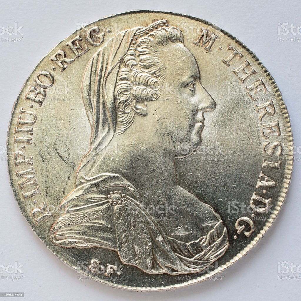 Maria Theresa thaler silver bullion coin 1780 obverse stock photo