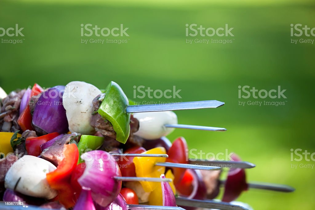 This barbecue skewer is made of metal can be used longer  stock photo