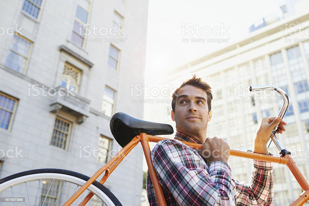 This bike takes me anywhere! stock photo