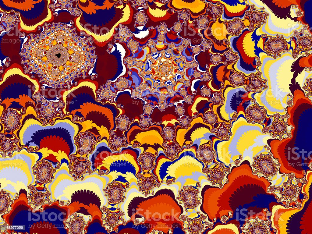 Jigsaw shapes in tumbling colours fractal pattern stock photo