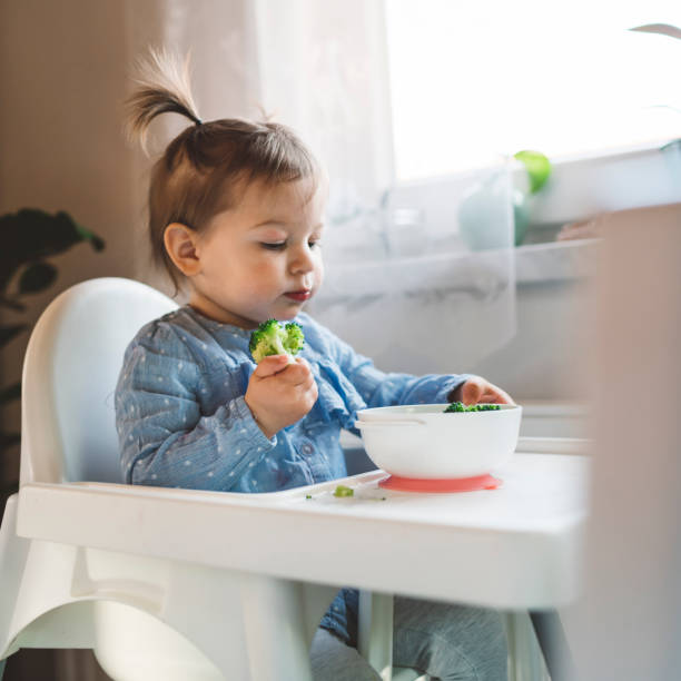This broccoli doesn't smell so bad - Baby girl playing with broccoli stock photo