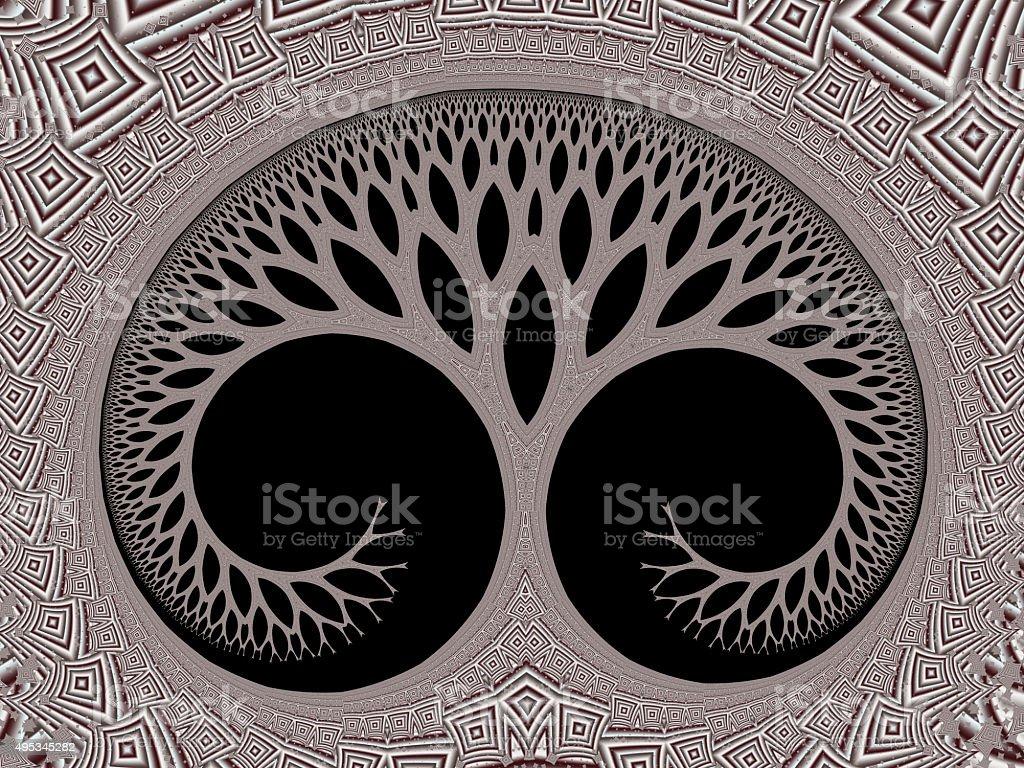 Cosmic evolutionary tree of life symbol brown fractal image stock photo