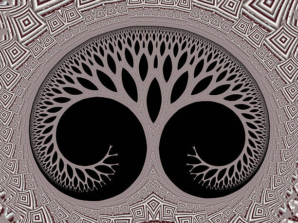 cosmic evolutionary tree of life symbol brown fractal image - whiteway fractal stock photos and pictures