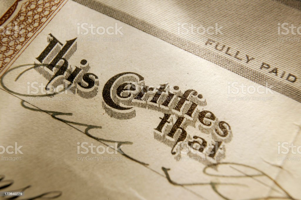 This Certifies 1 royalty-free stock photo