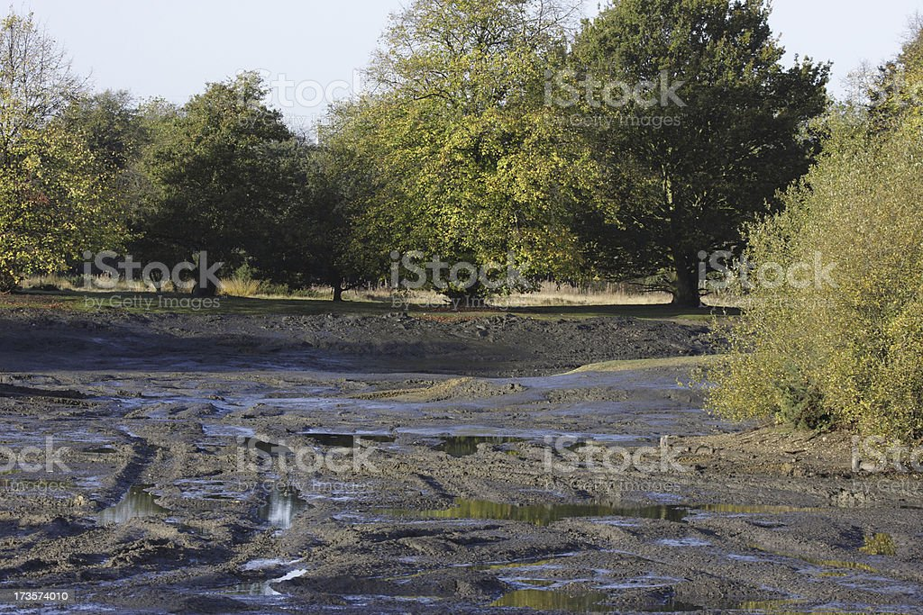 Conservation project dredged pond black mud silt Mitcham Common royalty-free stock photo