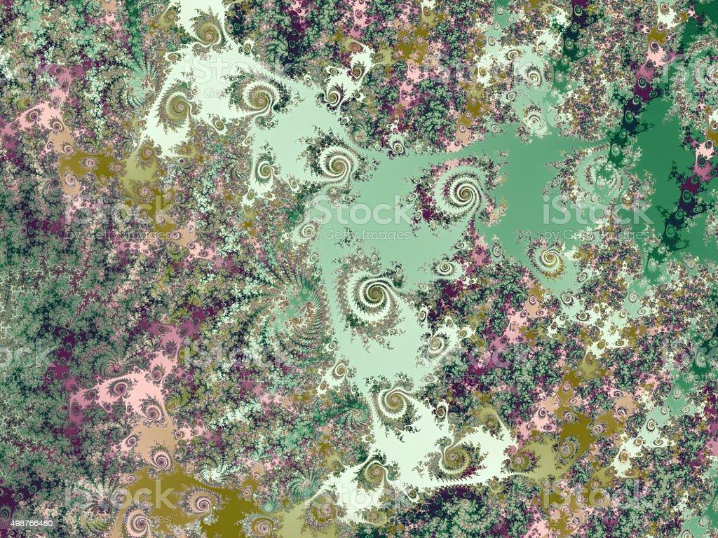 Landscape of spiral islands in green sea fractal image stock photo