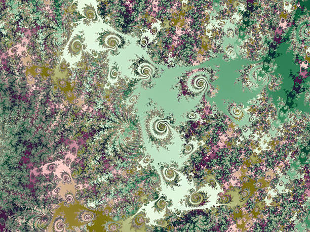 landscape of spiral islands in green sea fractal image - whiteway fractal stock photos and pictures