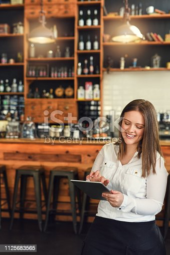 Shot of a young entrepreneur using a digital tablet in her cafe