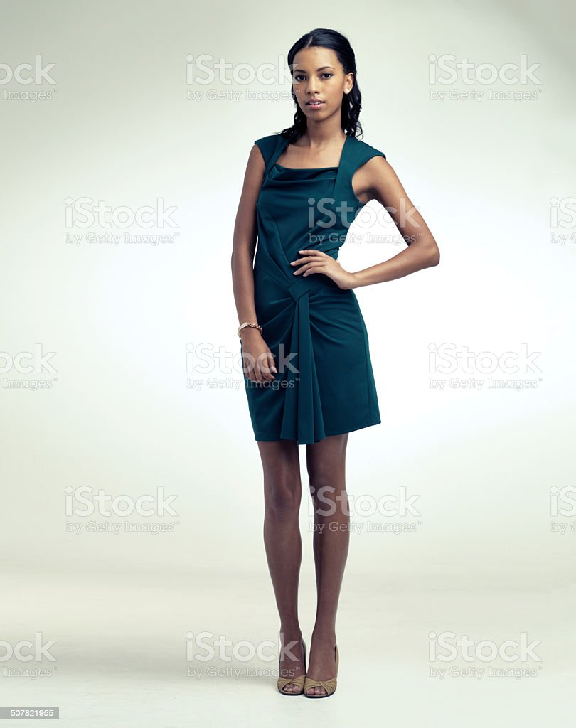 This dress demands attention.... and so do I stock photo