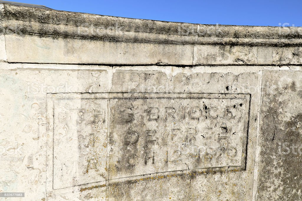 Inscription on bridge Kingston-Upon-Thames 1870 stock photo