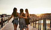 Rearview shot of three unrecognizable women holding each other and walking across a wooden bridge during a day out