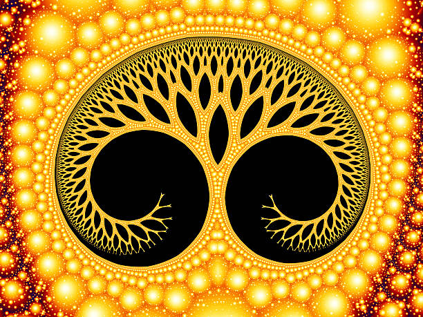 cosmic evolutionary tree of life symbol golden fractal image - whiteway fractal stock photos and pictures