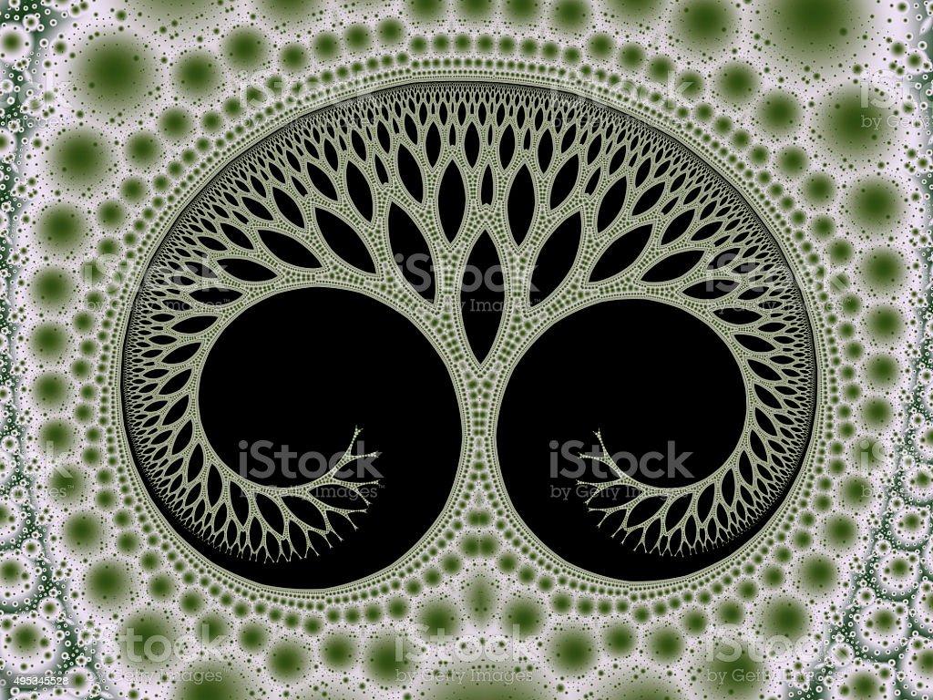 Cosmic evolutionary tree of life symbol green fractal image stock photo
