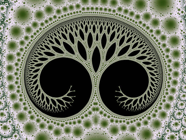 cosmic evolutionary tree of life symbol green fractal image - whiteway fractal stock photos and pictures