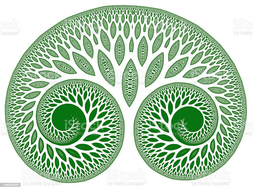 Green leafy tree of life symbol fractal image stock photo