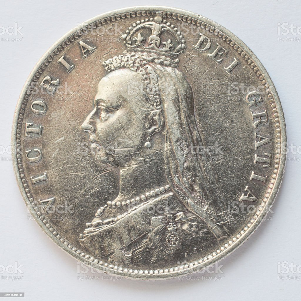 Half crown sterling silver Queen Victoria Golden Jubilee 1887 obverse stock photo