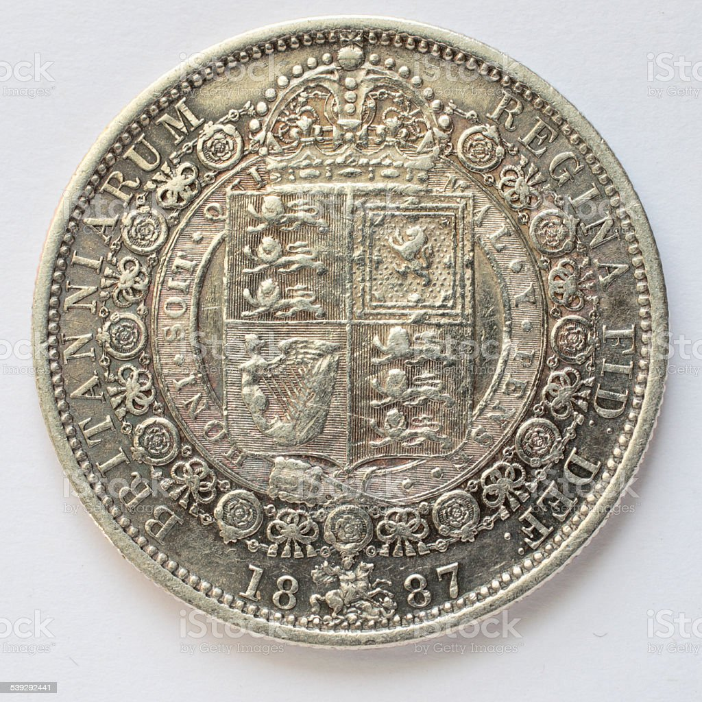 Half crown sterling silver Queen Victoria Golden Jubilee 1887 reverse stock photo