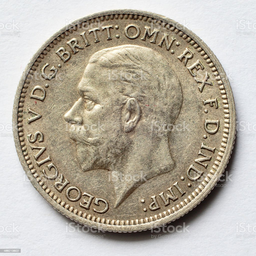 Silver sixpence 1936 King George V obverse stock photo