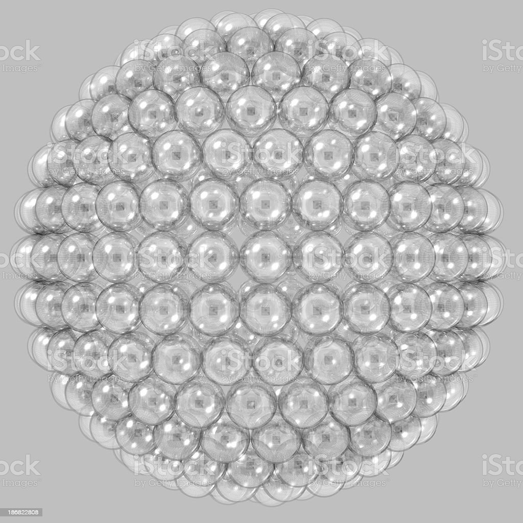 Bubblewrap 500 glass globes wrapped on a sphere stock photo
