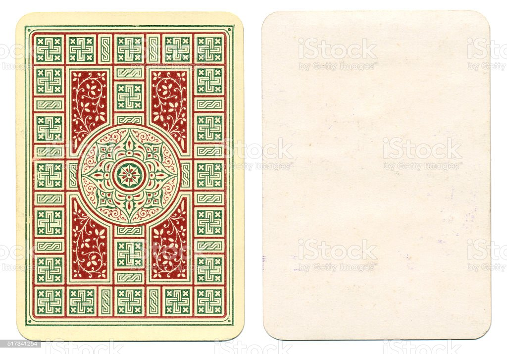 Blank playing card plus floral back red and green 1900 stock photo