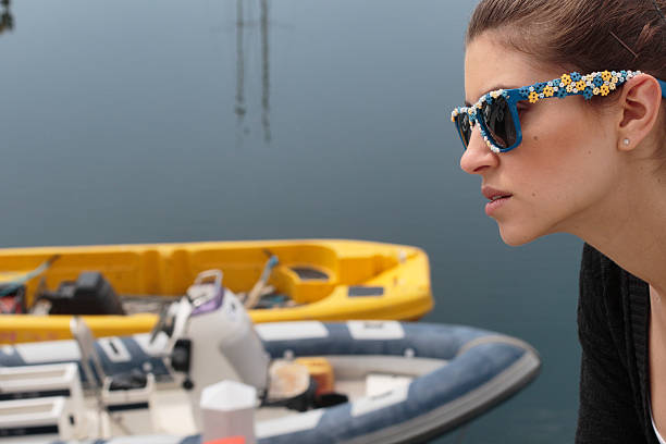 profile russian outdoor girl with sunglasses brighton marina - whiteway english outdoor girl stock photos and pictures
