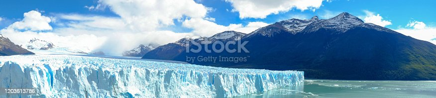 A panorama shows the impressive width of the glacier. It is a must see for everyone who travels to Patagonia.
