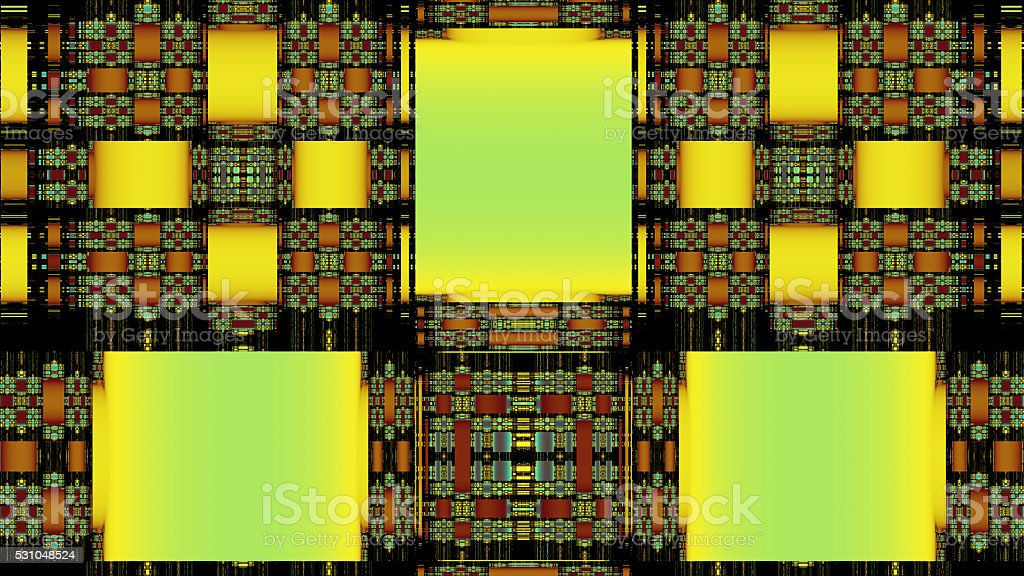 Green yellow rectangle patchwork fractal stock photo