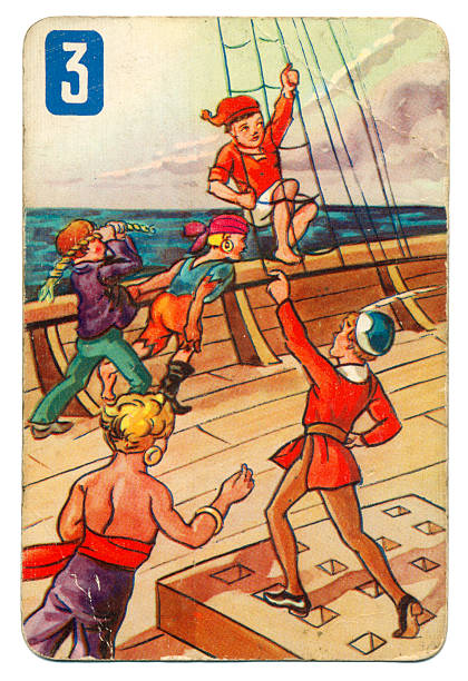 Peter Pan and Wendy Pepys playing card 1939 This is a Peter Pan playing card from British manufacturer Pepys with an illustration dating from 1939. Originally issued with green backs, this card is from a 1950s re-issue with red backs. This illustration shows children playing in the rigging on board a ship. peter pan stock pictures, royalty-free photos & images