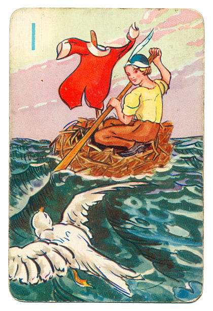 Peter Pan and Wendy Pepys playing card 1939 This is a Peter Pan playing card from British manufacturer Pepys with an illustration dating from 1939. Originally issued with green backs, this card is from a 1950s re-issue with red backs. This illustration shows Wendy steering a round boat on the sea, accompanied by a white tropical bird. peter pan stock pictures, royalty-free photos & images