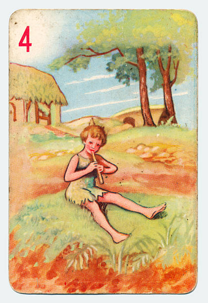 Peter Pan and Wendy Pepys playing card 1930s This is a Peter Pan playing card from British manufacturer Pepys with an illustration dating from 1939. Originally issued with green backs, this card is from a 1950s re-issue with red backs. This illustration shows Peter Pan playing music on a pipe. peter pan stock pictures, royalty-free photos & images