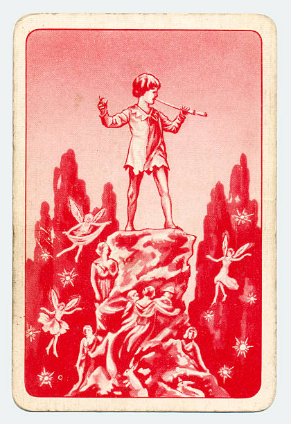 Peter Pan and Wendy Pepys playing card red back 1930s This is a Peter Pan playing card from British manufacturer Pepys with an illustration dating from the 1930s. Originally issued with green backs in 1939, this card is from a 1950s re-issue showing a later red back. peter pan stock pictures, royalty-free photos & images