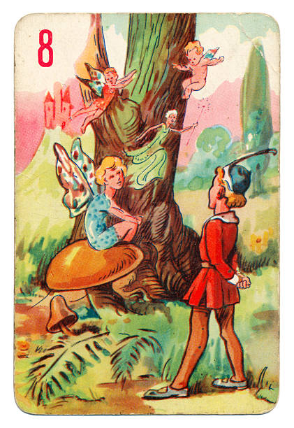 Peter Pan and Wendy Pepys playing card 1930s This is a Peter Pan playing card from British manufacturer Pepys with an illustration dating from 1939. Originally issued with green backs, this card is from a 1950s re-issue with red backs. The illustration shows Tinker Bell sitting on a toadstool with Peter Pan nearby. peter pan stock pictures, royalty-free photos & images
