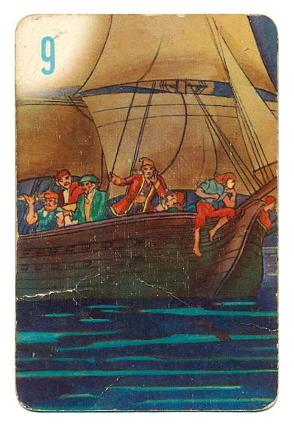 Peter Pan and Wendy Pepys playing card 1930s This is a Peter Pan playing card from British manufacturer Pepys with an illustration dating from 1939. Originally issued with green backs, this card is from a 1950s re-issue with red backs. The illustration shows the pirate ship at night. peter pan stock pictures, royalty-free photos & images