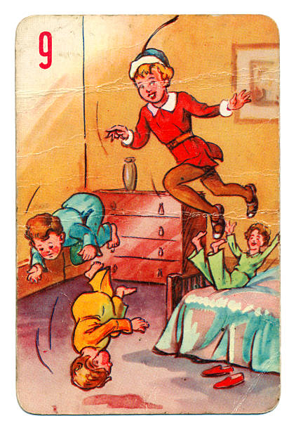 Peter Pan and Wendy Pepys playing card 1930s This is a Peter Pan playing card from British manufacturer Pepys with an illustration dating from 1939. Originally issued with green backs, this card is from a 1950s re-issue with red backs. The illustration shows Peter Pan in the Darling children's bedroom, teaching them how to fly. peter pan stock pictures, royalty-free photos & images