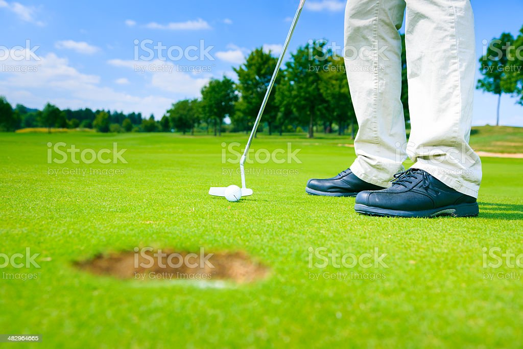 this is a really easy putting challenge stock photo