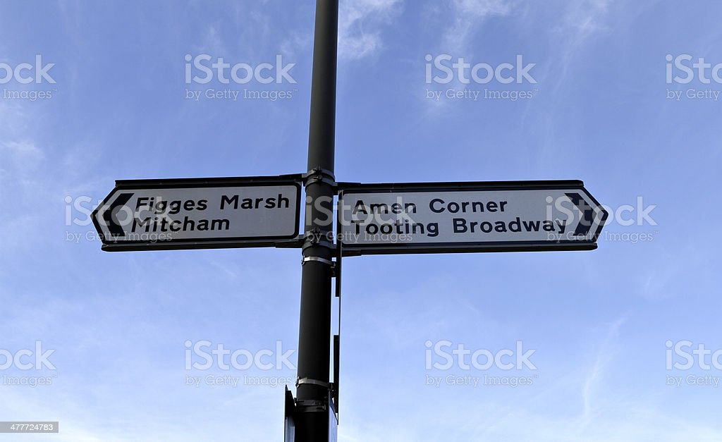 Road sign outside Tooting Junction railway station Amen Corner stock photo