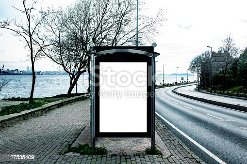 841502736 istock photo This is for advertisers to place ad copy samples on a bus shelter 1127535409