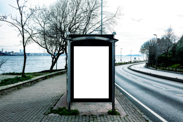 This is for advertisers to place ad copy samples on a bus shelter Billboard, Template, Bus Shelter, Advertisement sheltering stock pictures, royalty-free photos & images