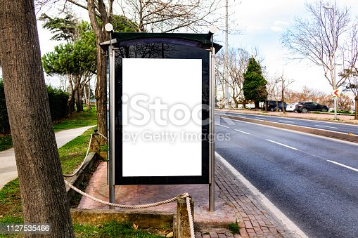 841502736 istock photo This is for advertisers to place ad copy samples on a bus shelter 1127535466