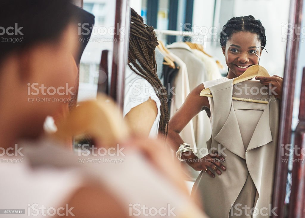 This is just the update my wardrobe needs royalty-free stock photo