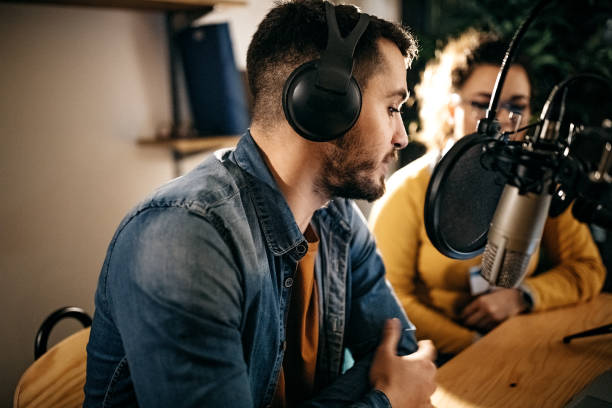 This is my first time on radio stock photo